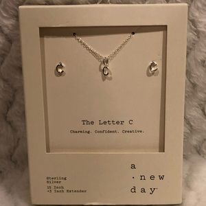 A new day C necklace & earring set sterling silver